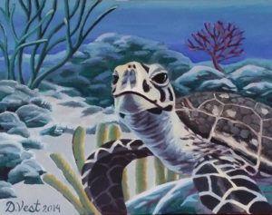 Original Acrylic Painting of Sea Turtle
