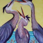 Original Acrylic Painting of Herons Eating
